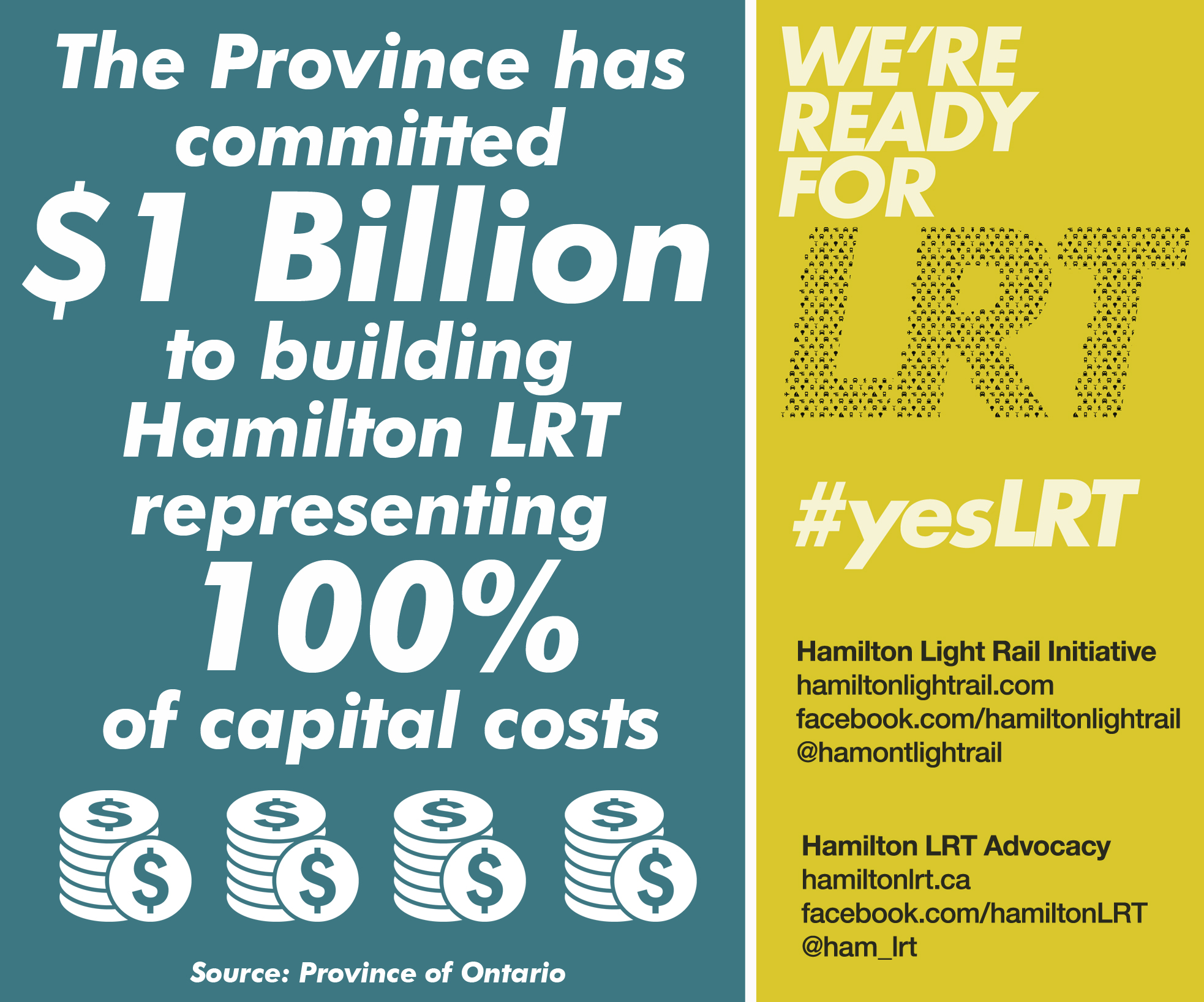 LRT Fact: The Province has committed $1 billion to building Hamilton LRT, representing 100% of capital costs